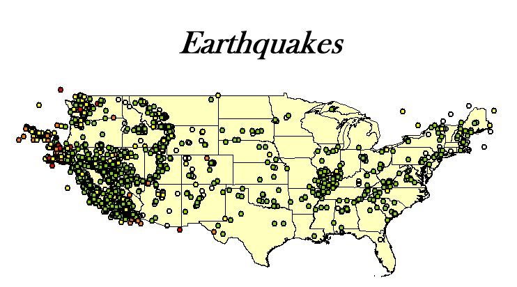 earthquakes around the united states map